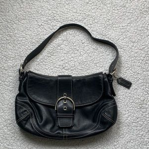 Coach Black Leather Buckle Flap Shoulder Bag